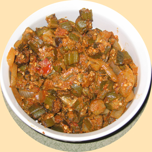 A dish of delicious cooked Okra